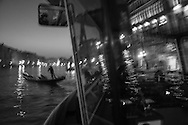 Italy. Venice at night. vaporetto, local transport on the Grand Canal at night . mirror reflexion  Venice - Italy  / vaporetto , sur le grand canal,  la nuit;   Venise - Italie