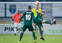 Gaber Dobrovoljc of NK Domzale vs Maks Slunjski of Krka during football match between NK Domzale and NK Krka in Semifinal of Slovenian Football Cup 2016/17, on April 4, 2017 in Sports park Domzale, Slovenia. Photo by Vid Ponikvar / Sportida