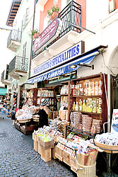 Colorful bags of candy, pasta, and other local foodstuffs draw shoppers to Enoteca La Cambusa on via Cavour in Stresa's pedestrians-only shopping heart.
