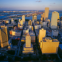 Vintage aerial of Miami Skyline circa 2002, view showing Dade Count Courthouse in the center of the city with Biscayne Bay and Miami Beach in the distance.