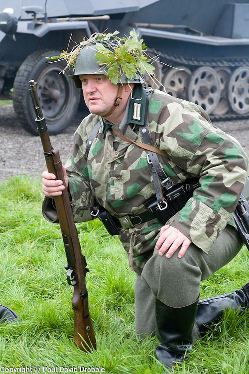 A Re-enactor portrayiing a German infantryman during a battle battle re-enactment in on Pickering Showground<br /> <br /> 17/18 October 2015<br />  Image &copy; Paul David Drabble <br />  www.pauldaviddrabble.co.uk