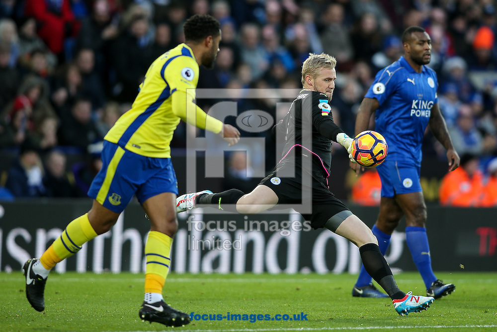 Kasper Schmeichel of Leicester City clears during the Premier League match at the King Power Stadium, Leicester<br /> Picture by Andy Kearns/Focus Images Ltd 0781 864 4264<br /> 26/12/2016