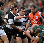 Twickenham, GREAT BRITAIN, Baa Baa's Prop, Salesi MA'AFU [left ] and Hooker Mark REGAN, bind, referee Christophe BERDOS walks between the front row players, during the, Gartmore Challenge -  Barbarians vs South Africa, rugby match at Twickenham Stadium, ENGLAND.  [Mandatory Credit Peter Spurrier/Intersport Images].