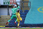 Blackburn Rovers goalkeeper Thomas Kaminski (1) blocks the shot from Wycombe Wanderers midfielder David Wheeler (7) during the EFL Sky Bet Championship match between Blackburn Rovers and Wycombe Wanderers at Ewood Park, Blackburn, England on 19 September 2020.