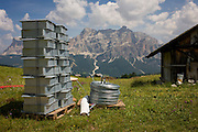 Drainage materials ready for instillation in the Pralongià above San Cassiano-St. Kassian in the Dolomites, south Tyrol, northern Italy. In winter, the Pralongià meadows are the heart of Alta Badia's skiing area.