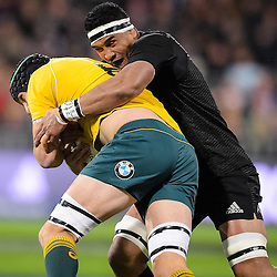 Scott Fardy of the Wallabies is wrapped up by his opposite Jerome Kaino of the All Blacks during the Investec Rugby Championship match between the New Zealand All Blacks and the Australia Wallabies at Westpac Stadium in Wellington, New Zealand on Saturday, 27 August 2016. Photo: Marco Keller / www.lintottphoto.co.nz