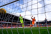 14th April 2018, Tannadice Park, Dundee, Scotland; Scottish Championship football, Dundee United versus Falkirk; Thomas Mikkelsen of Dundee United turns away to celebrate after scoring for 1-0