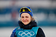 PYEONGCHANG-GUN, SOUTH KOREA - FEBRUARY 13: Stina Nilsson of Sweden in tears on the podium during the Womens Individual Sprint Classic Finals on day four of the PyeongChang 2018 Winter Olympic Games at Alpensia Cross-Country Skiing Centre on February 13, 2018 in Pyeongchang-gun, South Korea. Photo by Nils Petter Nilsson/Ombrello               ***BETALBILD***