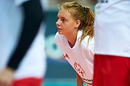 Katowice, Poland - 2017 September 02: Partner Wiktoria Bialas from SO Poland looks forward while SO Poland versus SO Czech Republic match during European Unified Volleyball Tournament 2017 at Spodek Hall on September 02, 2017 in Katowice, Poland.<br /> <br /> Adam Nurkiewicz declares that he has no rights to the image of people at the photographs of his authorship.<br /> <br /> Picture also available in RAW (NEF) or TIFF format on special request.<br /> <br /> Any editorial, commercial or promotional use requires written permission from the author of image.<br /> <br /> Image can be used in the press when the method of use and the signature does not hurt people on the picture.<br /> <br /> Mandatory credit:<br /> Photo by © Adam Nurkiewicz / Mediasport
