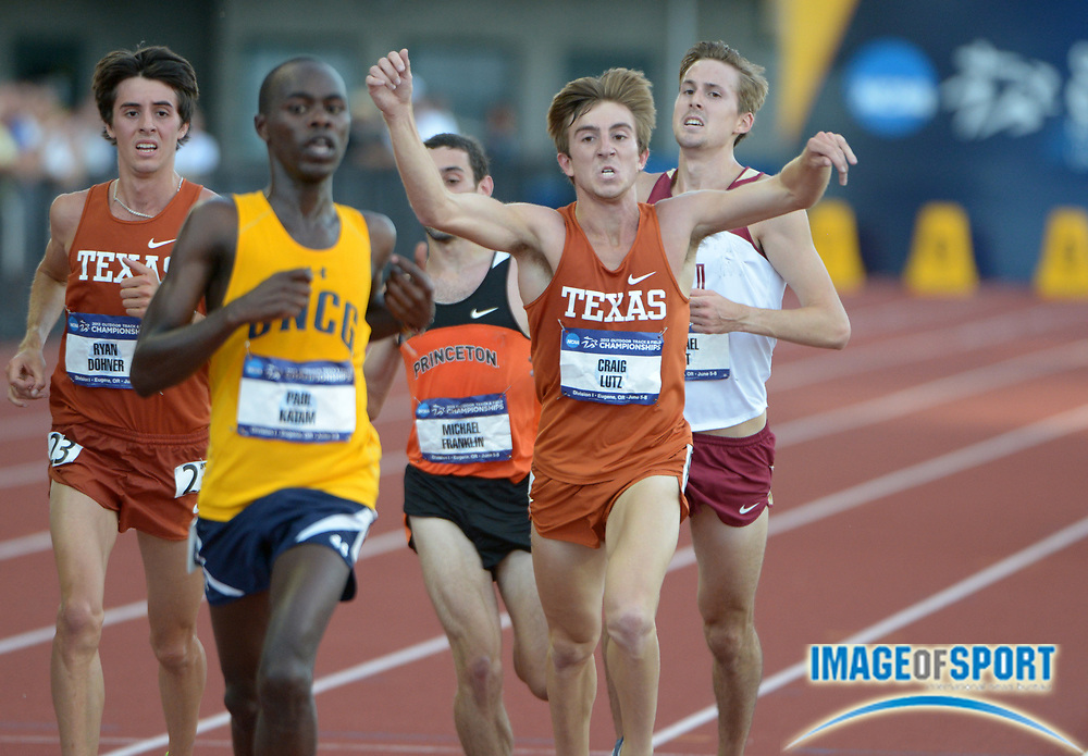 Jun 7, 2013; Eugene, OR, USA; Craig Lutz of Texas celebrates after placing third in the 10,000m in 29:41.97 in the 2013 NCAA Championships at Hayward Field. Photo by Kirby Lee