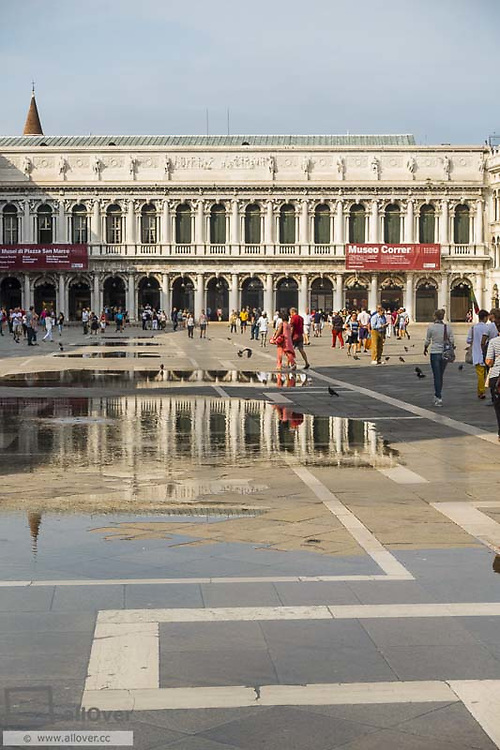 Partly flooded Piazza San Marco, Venice, Venetia, Italy