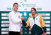 (L) Jerzy Janowicz of Poland and his opponent (R) Jean Andersen of South Africa while official draw one day before the BNP Paribas Davis Cup 2013 between Poland and South Africa at MOSiR Hall in Zielona Gora on April 04, 2013...Poland, Zielona Gora, April 04, 2013..Picture also available in RAW (NEF) or TIFF format on special request...For editorial use only. Any commercial or promotional use requires permission...Photo by © Adam Nurkiewicz / Mediasport