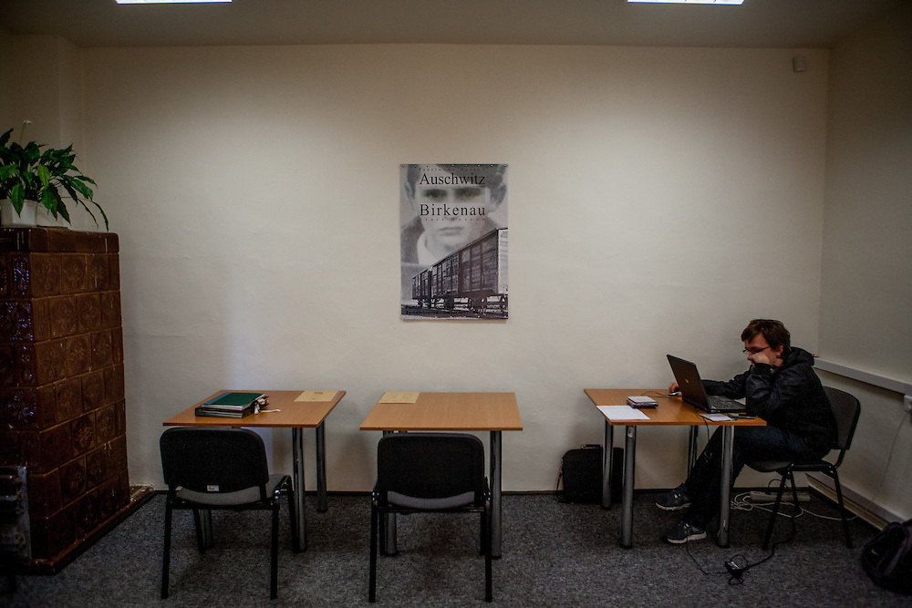 Reading room for visitors  at the archive of the Auschwitz Nazi concentration camp. It is estimated that between 1.1 and 1.5 million Jews, Poles, Roma and others were killed in Auschwitz during the Holocaust in between 1940-1945.