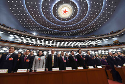 People sing the national anthem during the opening meeting of the fourth session of the 12th National People's Congress at the Great Hall of the People in Beijing, capital of China, March 5, 2016. EXPA Pictures © 2016, PhotoCredit: EXPA/ Photoshot/ Rao Aimin<br />