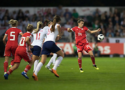 NEWPORT, WALES - Thursday, August 30, 2018: Wales' Hayley Ladd in action during the FIFA Women's World Cup 2019 Qualifying Round Group 1 match between Wales and England at Rodney Parade. (Pic by Laura Malkin/Propaganda)