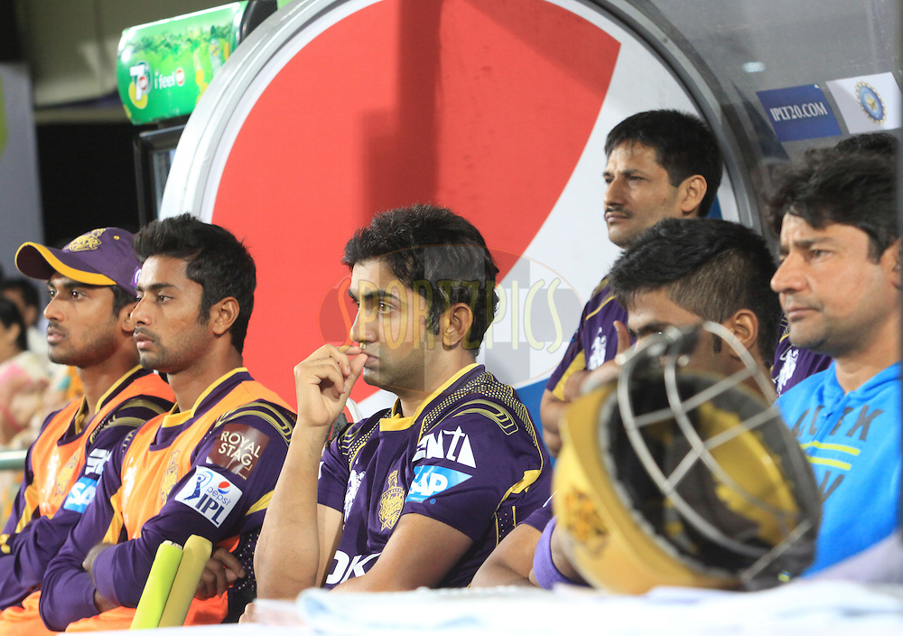 Gautam Gambhir captain of the KKR react  during match 21 of the Pepsi Indian Premier League Season 2014 between the Chennai Superkings and the Kolkata Knight Riders  held at the JSCA International Cricket Stadium, Ranch, India on the 2nd May  2014<br /> <br /> Photo by Arjun Panwar / IPL / SPORTZPICS<br /> <br /> <br /> <br /> Image use subject to terms and conditions which can be found here:  http://sportzpics.photoshelter.com/gallery/Pepsi-IPL-Image-terms-and-conditions/G00004VW1IVJ.gB0/C0000TScjhBM6ikg