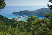 A an aerial view through the pine trees of Olu Deniz and the blue lagoon, Fethiye, Turkey.