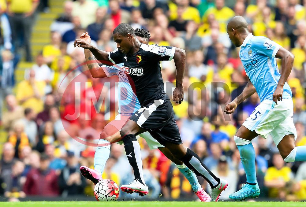 Watford's Gabriele Angella skips past Raheem Sterling of Manchester City  - Mandatory byline: Matt McNulty/JMP - 07966386802 - 29/08/2015 - FOOTBALL - Etihad Stadium -Manchester,England - Manchester City v Watford - Barclays Premier League