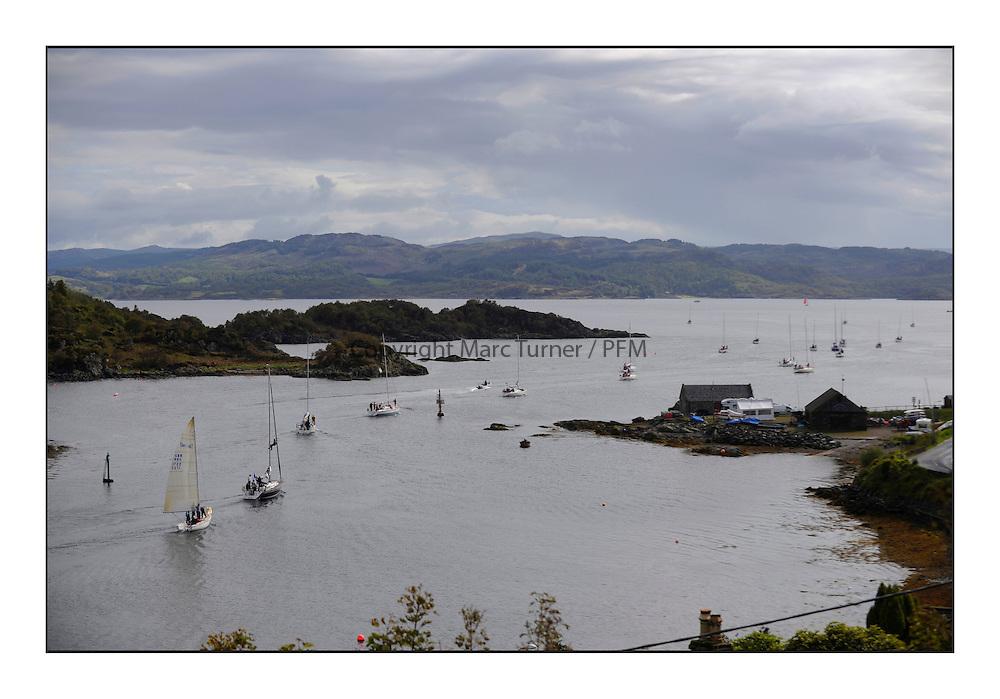 Brewin Dolphin Scottish Series 2011, Tarbert Loch Fyne - Yachting..The fleet leaving Tarbert HArbour.