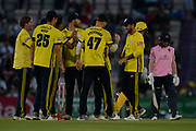 Hampshire celebrates the wicket of Eoin Morgan during the Vitality T20 Blast South Group match between Hampshire County Cricket Club and Middlesex County Cricket Club at the Ageas Bowl, Southampton, United Kingdom on 20 July 2018. Picture by Dave Vokes.