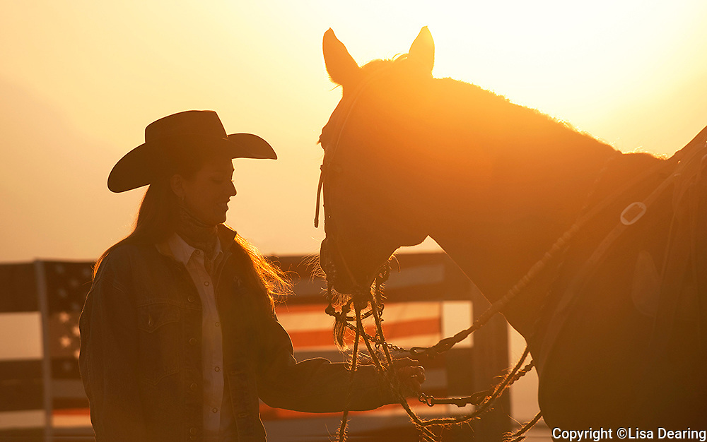 Cowgirl with Horse and American Flag