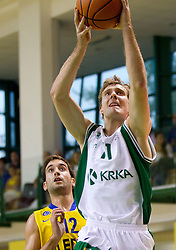 Ohayon Yogev of Maccabi vs Zoran Dragic of Krka during basketball match between KK Krka and Maccabi Electra Tel-Aviv in 1st Round of ABA League, on October 1, 2011, in Arena Leon Stukelj, Slovenia. Maccabi defeated Krka 83-68. (Photo by Vid Ponikvar / Sportida)