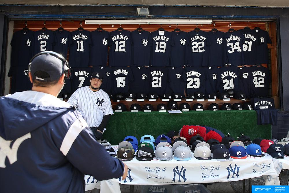 Yankee merchandise for sale outside Yankee Stadium during the New York Yankees Vs Toronto Blue Jays season opening day at Yankee Stadium, The Bronx, New York. 6th April 2015. Photo Tim Clayton
