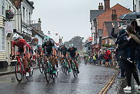 TREK-SEGAFREDO and BORA-HANSGROHE race through Dorking in The Prudential RideLondon Classic. Sunday 29th July 2018<br /> <br /> Photo: Thomas Lovelock for Prudential RideLondon<br /> <br /> Prudential RideLondon is the world's greatest festival of cycling, involving 100,000+ cyclists - from Olympic champions to a free family fun ride - riding in events over closed roads in London and Surrey over the weekend of 28th and 29th July 2018<br /> <br /> See www.PrudentialRideLondon.co.uk for more.<br /> <br /> For further information: media@londonmarathonevents.co.uk