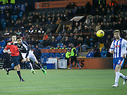 Dundee&rsquo;s Kane Hemmings fires in a shot which brought an outstanding save from Kilmarnock&rsquo;s Jamie MacDonald - Kilmarnock v Dundee, Ladbrokes Premiership at Rugby Park<br /> <br />  - &copy; David Young - www.davidyoungphoto.co.uk - email: davidyoungphoto@gmail.com