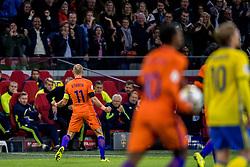 10-10-2017 NED: WK kwalificatie Nederland - Zweden, Amsterdam<br /> Oranje heeft Zweden met 2-0 verslagen. Het moest met zeven doelpunten verschil halen om nog kans te maken op plaatsing voor het WK. / Arjen Robben #11 of Netherlands scoort de 2-0