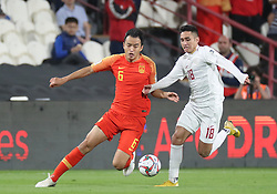 ABU DHABI, Jan. 11, 2019  Feng Xiaoting (L) of China vies with Patrick Reichelt of the Philippines during the 2019 AFC Asian Cup UAE 2019 group C match between China and the Philippines in Abu Dhabi, the United Arab Emirates (UAE), Jan. 11, 2019. China won 3-0. (Credit Image: © Xinhua via ZUMA Wire)