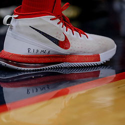 Apr 21, 2018; New Orleans, LA, USA; New Orleans Pelicans forward Anthony Davis wears shoes with a memorial message for owner Tom Benson who passed away recently  during the second half in game four of the first round of the 2018 NBA Playoffs against the Portland Trail Blazers at the Smoothie King Center. Mandatory Credit: Derick E. Hingle-USA TODAY Sports