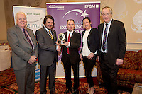 31/01/2014 REPRO free.<br /> From Left CforC Chief Executive Bob Barbour, Matt Fisher, EFQM, Garrett O'Neill, and Magda Rybka  Crowne Plaza Blanchardstown, and  Dr Tony Lenehan, F&aacute;ilte Ireland.<br /> The EFQM(European Business Excellence based Awards in Ireland) 5 Star Award went to among others Crowne Plaza Blanchardstown, represented by Magda Rybka and Garrett O'Neill from the Hotel in a prestigious recognition scheme awards ceremony  at the Galway Bay Hotel . Established by the private sector, the Centre for Competitiveness (CforC) is an independent, not-for-profit membership organisation operating on the Island of Ireland with offices in Belfast and Dublin. The Centre is the national partner for the European Foundation for Quality Management, Brussels (EFQM) in Ireland and the certification partner for the UK and Ireland (ADS) aerospace, defence and security supply base. It is an active member of the Global Federation of Competitive Councils, Washington USA. The Centre is dedicated to improving the quality and competitiveness of individual organisations in the private, public and voluntary sectors and to build best in class performance through International Leadership and Innovation, Productivity Improvement, and Quality Excellence in all sectors.Photo:Andrew Downes