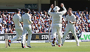 New Zealand Matt Henry celebrates the wicket of England Joe Root during the first day of the Investec 1st Test  match between England and New Zealand at Lord's Cricket Ground, St John's Wood, United Kingdom on 21 May 2015. Photo by Ellie  Hoad.