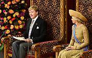 Prinsjesdag 2013 Koning Willem-Alexander leest de troonrede voor in de Ridderzaal naast de Koning zit Koningin Maxima<br /> <br /> Budget Day 2013 King Willem-Alexander reads the throne speech to the Knights next to the King's Queen Maxima<br /> <br /> HANDOUT / POOL/HANDOUT / FRANK VAN BEEK / EDITORIAL USE ONLY.
