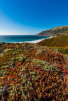 View of the Big Sur coastline between Carmel Highlands and Big Sur, Monterey County, California.