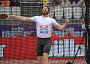 Jul 21, 2019; London, United Kingdom; Christoph Harting (GER)  places seventh in the discus at 208-11 (63.69m) during the London Anniversary Games at London Stadium at  Queen Elizabeth Olympic Park.