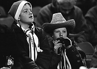 Young Irish fans at the Ireland v England at Landsdowne Road. Following the Irish goal a riot erupted and the game was abandoned. 15/2/1995 (Part of the Independent Newspapers Ireland/NLI Collection)