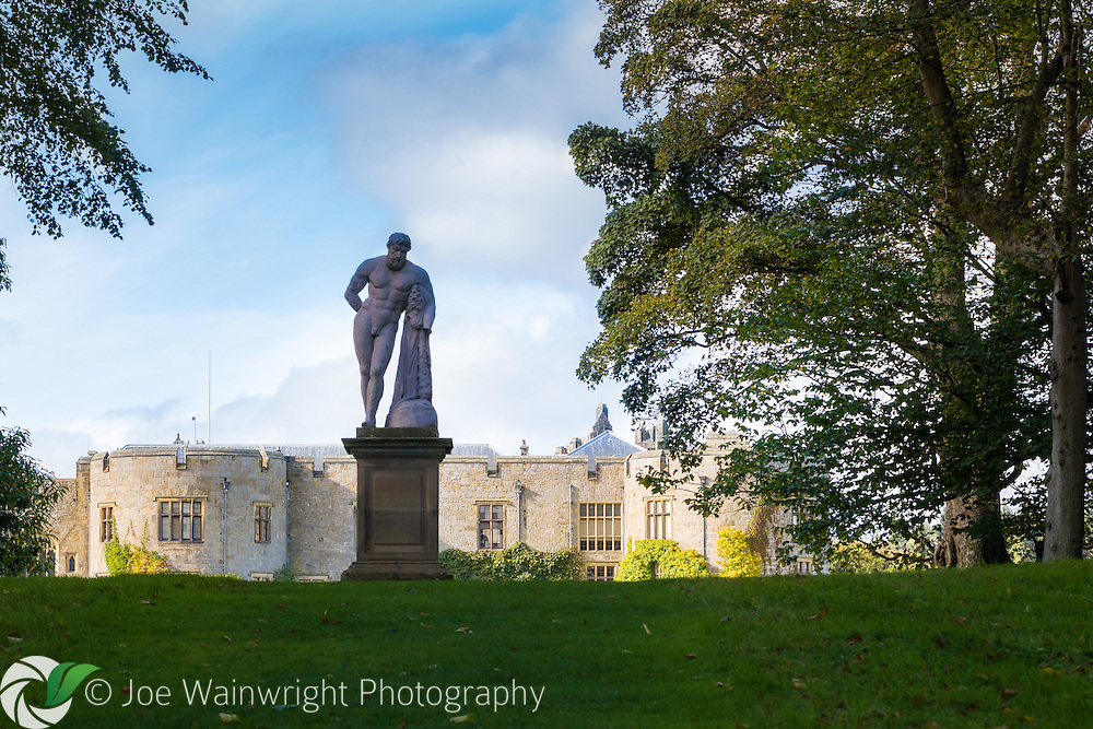 The lead statue of Hercules at Chirk Castle, North Wales, was commissioned in the 1720s and originally stood at the entrance to the castle, together with a figure of Mars. In 1770 it was moved to a nearby wood, from where it was retrieved in 1983, before being restored and positioned here by the National Trust.