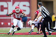 FAYETTEVILLE, AR - OCTOBER 31:  Kody Walker #24 of the Arkansas Razorbacks runs the ball during a game against the UT Martin Skyhawks at Razorback Stadium on October 31, 2015 in Fayetteville, Arkansas.  The Razorbacks defeated the Skyhawks 63-28.  (Photo by Wesley Hitt/Getty Images) *** Local Caption *** Kody Walker