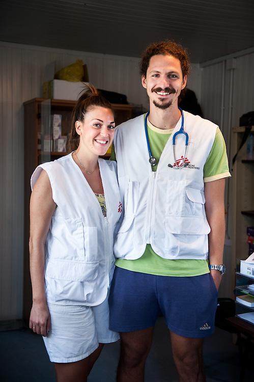 MSF doctor Grigoris Grivas and his wife MSF nurse Daphne Garefou at the medical centre in Kara Tepe camp.