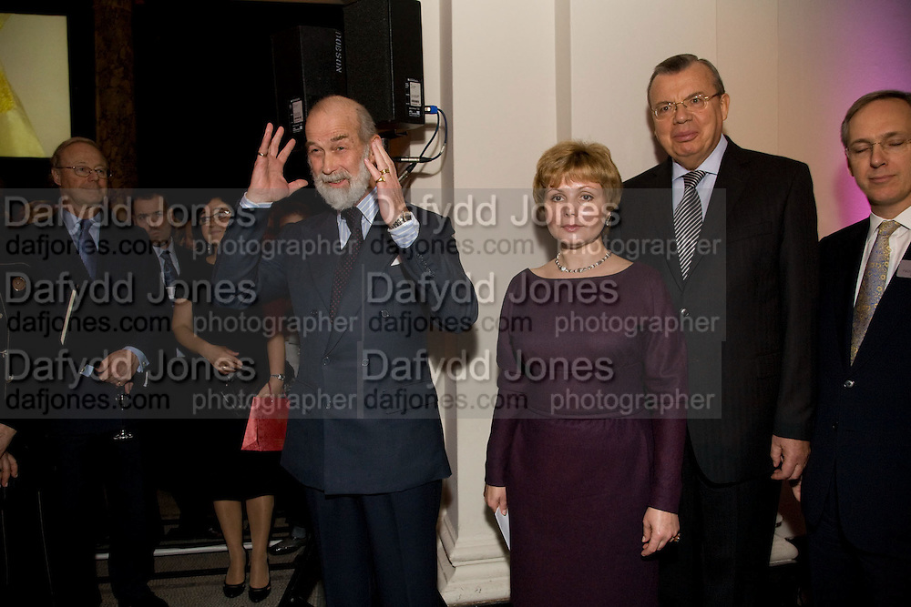 PRINCE MICHAEL OF KENT; Elena Gagarina; YURY VIKTOROVICH FEDETOV. Magnificence Of The Tsars - exhibition<br /> Victoria & Albert Museum, Cromwell Road, London, SW7. 9 December 2008 *** Local Caption *** -DO NOT ARCHIVE -Copyright Photograph by Dafydd Jones. 248 Clapham Rd. London SW9 0PZ. Tel 0207 820 0771. www.dafjones.com<br /> PRINCE MICHAEL OF KENT; Elena Gagarina; YURY VIKTOROVICH FEDETOV. Magnificence Of The Tsars - exhibition<br /> Victoria & Albert Museum, Cromwell Road, London, SW7. 9 December 2008