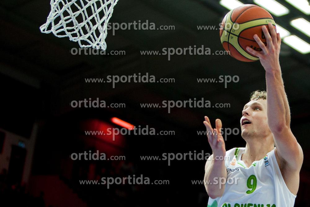 Jaka Blazic of Sloevnia during friendly match between National teams of Slovenia and Bosnia and Herzegovina for Eurobasket 2013 on August 16, 2013 in Podmezakla, Jesenice, Slovenia. (Photo by Urban Urbanc / Sportida.com)