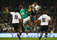 Rugby Union - 2017 Guinness Series (Autumn Internationals) - Ireland vs. Fiji<br /> <br /> Kini Murimurivalu (Fiji) and Darren Sweetnam (Ireland) challenge for possession in the air, at the Aviva Stadium.<br /> <br /> COLORSPORT/KEN SUTTON
