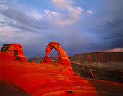 Sunset Storm Clouds, Delicate Arch, Arches National Park, Utah