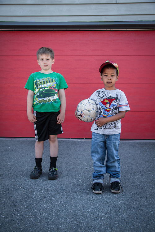 Eight year old Landon with his friend, Taizhay, South Addition, Anchorage