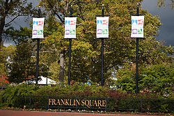 Sign and fence for Franklin Square, Philadelphia, Pennsylvania, United States of America