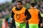 Forest Green Rovers Udoka Godwin-Malife(22) warming up during the EFL Sky Bet League 2 second leg Play Off match between Forest Green Rovers and Tranmere Rovers at the New Lawn, Forest Green, United Kingdom on 13 May 2019.