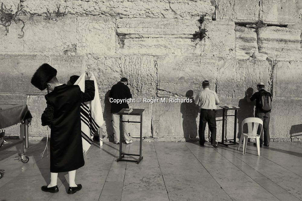 At the Wailing Wall in Jerusalem, one of the holiest sites in Judaism.
