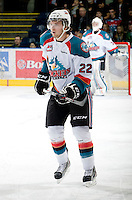 KELOWNA, CANADA, JANUARY 1: Mackenzie Johnston #22 of the Kelowna Rockets skates on the ice as the Calgary Hitmen visit the Kelowna Rockets on January 1, 2012 at Prospera Place in Kelowna, British Columbia, Canada (Photo by Marissa Baecker/Getty Images) *** Local Caption ***